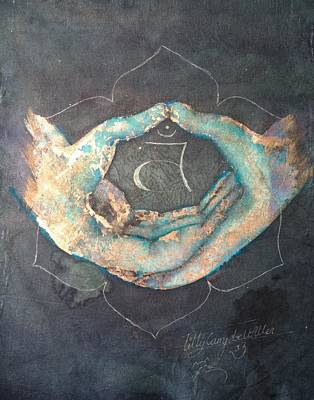 Ahimsa Painting - Svadhisthana - Sacral 'blue Hand' Chakra Mudra by Silk Alchemy