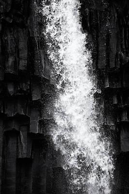Ps I Love You - Svartifoss waterfall detail black and white by Matthias Hauser
