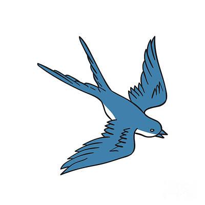 Swallow Digital Art - Swallow Flying Down Drawing by Aloysius Patrimonio