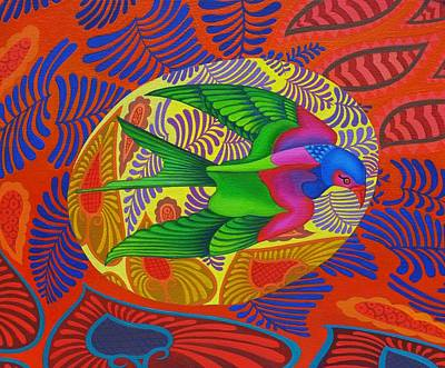Multi Colored Painting - Swallow Tailed Kite by Jane Tattersfield