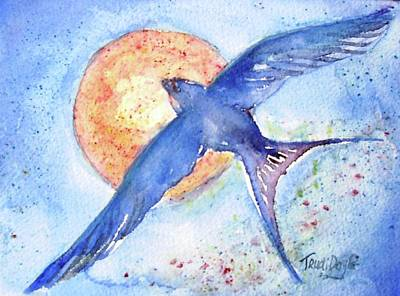 Art Print featuring the painting Swallows Return  by Trudi Doyle