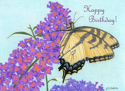 Garden Flowers Drawing - Swallowtail Butterfly And Butterfly Bush- Happy Birthday Cards by Sarah Batalka