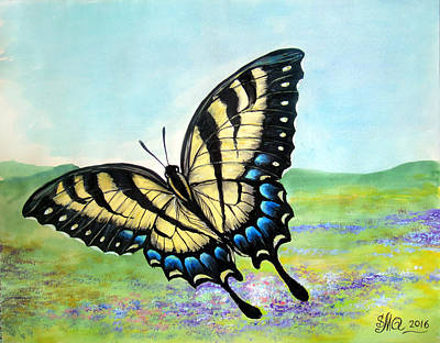 Swallowtail Butterfly And Field Of Flowers Original by Sofia Metal Queen