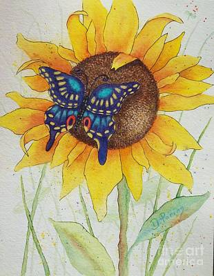 Secrets. Faces Painting - Swallowtail Sunflower by DParins Zich