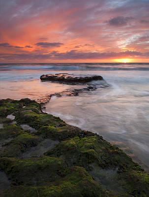 Swami's Beach Sunset Original by Mike  Dawson