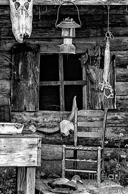 Photograph - Swamp Cabin La - Bw by Kathleen K Parker