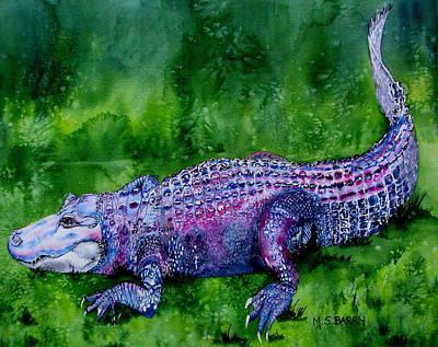 Swamp Gator Art Print by Maria Barry