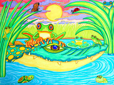 Reptiles Drawings - Swamp Life by Nick Gustafson