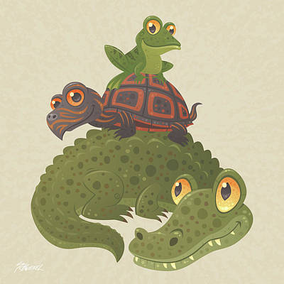 Reptiles Digital Art - Swamp Squad by John Schwegel