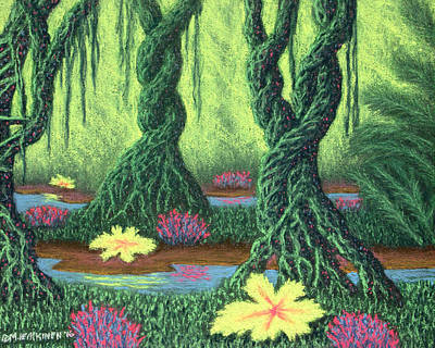 Pastel - Swamp Things 02, Diptych Panel B by Michael Heikkinen