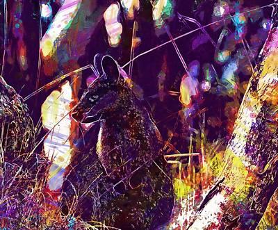 Digital Art - Swamp Wallaby Kangaroo Standing  by PixBreak Art