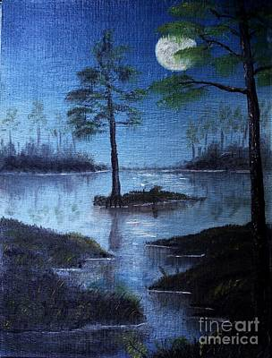 Swamp Oil Painting - Swamp1 Rising Moon by The Stone Age