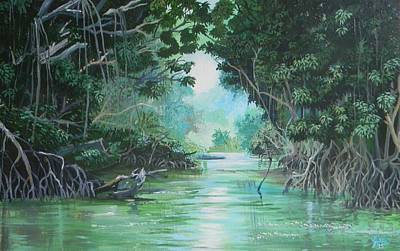 Mangrove Forest Painting - Swampland by Samantha Rochard
