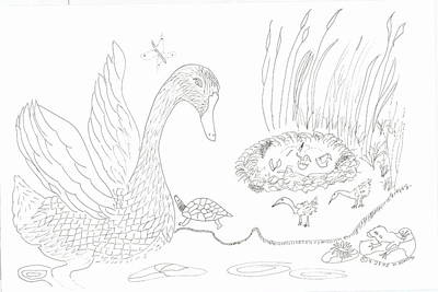 Swan And Hatchlings Art Print