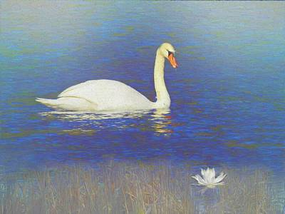 Digital Art - Swan And Lilly by Rusty R Smith