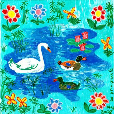 Swan And Two Ducks Art Print by Sushila Burgess