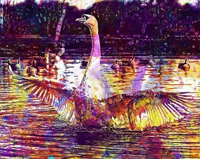 Digital Art - Swan Bird Nature Animal White  by PixBreak Art