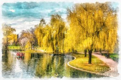 Birds Rights Managed Images - Swan Boats Boston Public Garden Royalty-Free Image by Edward Fielding