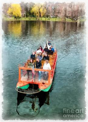 Birds Rights Managed Images - Swan Boats Boston Public Gardens Royalty-Free Image by Edward Fielding