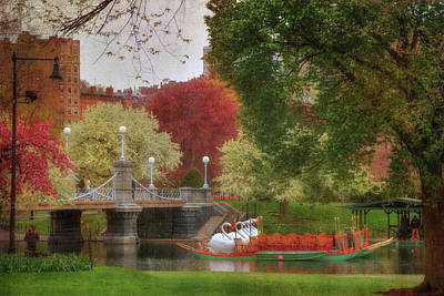 Spring Scenes Photograph - Swan Boats In The Lagoon - Boston Public Garden by Joann Vitali