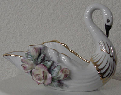 Ceramic Art - Swan Candy Dish by Shirley Heyn