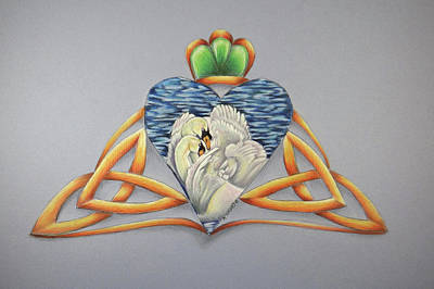 Wiccan Drawing - Swan- Celtic Design-celtic Zodiac by Kathy Stocks