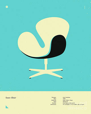 Infographic Digital Art - Swan Chair 1958 by Jazzberry Blue