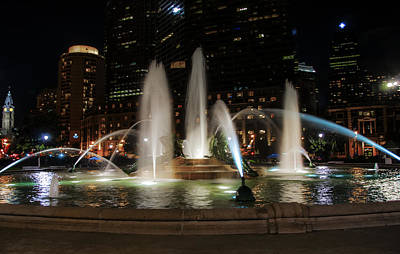 Swan Fountain In The Night Lights Art Print