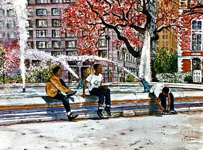 Philadelphia Pa Painting - Swan Fountain by Joyce A Guariglia