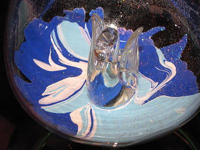 Etc. Mixed Media - Swan In A Wine Glass by HollyWood Creation By linda zanini