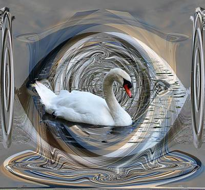 Digital Art - Swan In Abstract by rd Erickson
