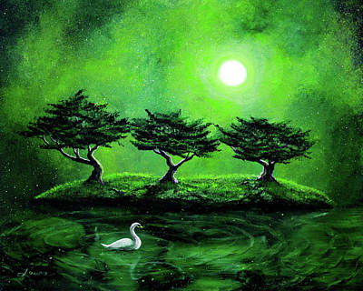 Lime Tree Painting - Swan In An Emerald Lake by Laura Iverson