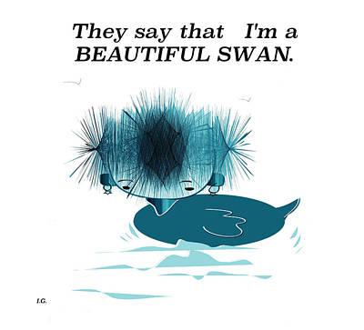 Digital Art - Swan by Iris Gelbart