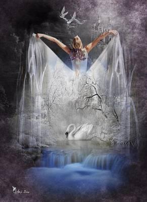 Digital Art - Swan Lake  by Ali Oppy
