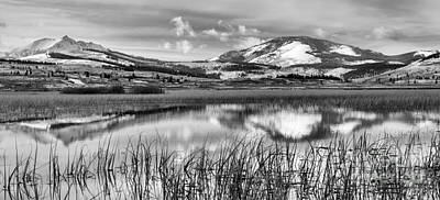 Photograph - Swan Lake Icy Reflections Black And White by Adam Jewell