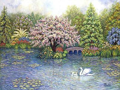 Swan Painting - Swan Lake by Linda Mears