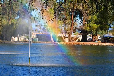Photograph - Swan Lake Rainbow by Kathryn Meyer