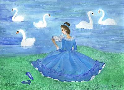 Swan Lake Reader Art Print by Sushila Burgess