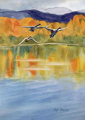 Trumpeter Painting - Swan Lake Revisited by Kris Parins