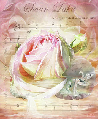 Mixed Media - Swan Lake Rose by Carol Cavalaris