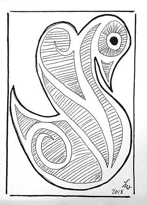 Drawing - Swan by Loretta Nash