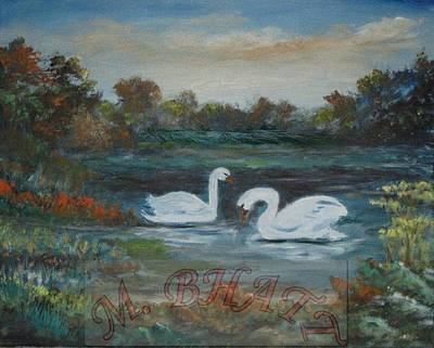 Swan Art Print by M Bhatt