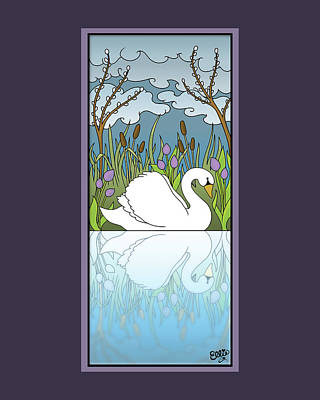Swan On The River Art Print by Eleanor Hofer
