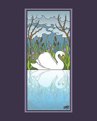 Digital Art - Swan On The River by Eleanor Hofer