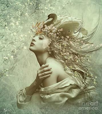 Digital Art - Swan Song by Ali Oppy