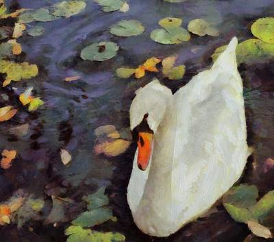 Swans... Painting - Swan Song By Pierre Blanchard by Pierre Blanchard