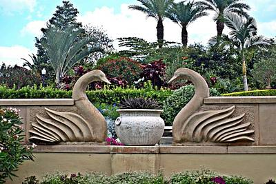 Photograph - Swan Statutes At Hollis Gardens by Jo Jurkiewicz