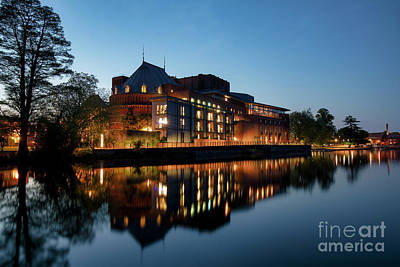 Photograph - Royal Shakespeare Theatre Stratford Upon Avon At Dusk by Tim Gainey