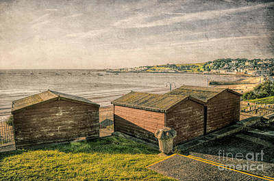 Mixed Media - Swanage Beach Huts And The Bay by Linsey Williams