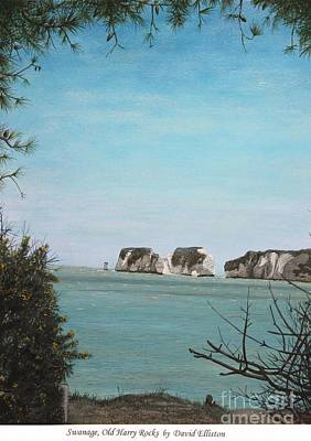 English Gouache Painting - Swanage, Old Harry Rocks by David Elliston